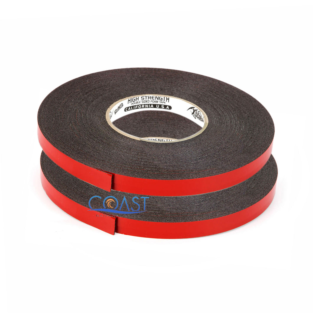 2X High Strength Double Sided Foam Adhesive Tape 60 Ft of 1/2