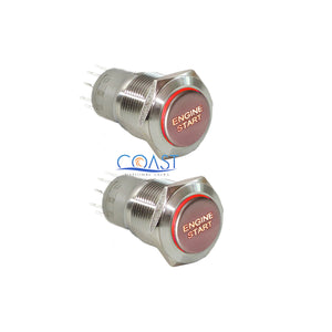 2X Durable 12V Red LED 16mm Momentary Engine Start Push Button Toggle Switch