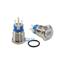 Load image into Gallery viewer, 8X Durable 12V Blue LED 19mm Momentary Engine Start Push Button Toggle Switch