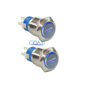 2X Durable 12V Blue LED 19mm Momentary Engine Start Push Button Toggle Switch