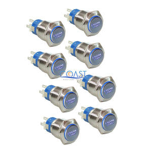 8X Durable 12V Blue LED 19mm Momentary Engine Start Push Button Toggle Switch