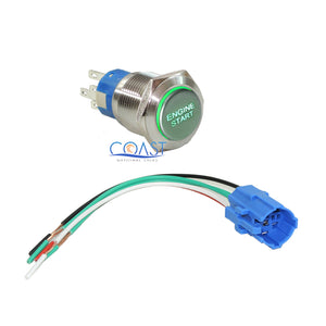 Durable 12V Green LED 19mm Metal Momentary Engine Start Button Switch & Plug