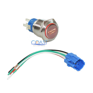 Durable 12V Red LED 19mm Metal Momentary Engine Start Button Switch & Plug