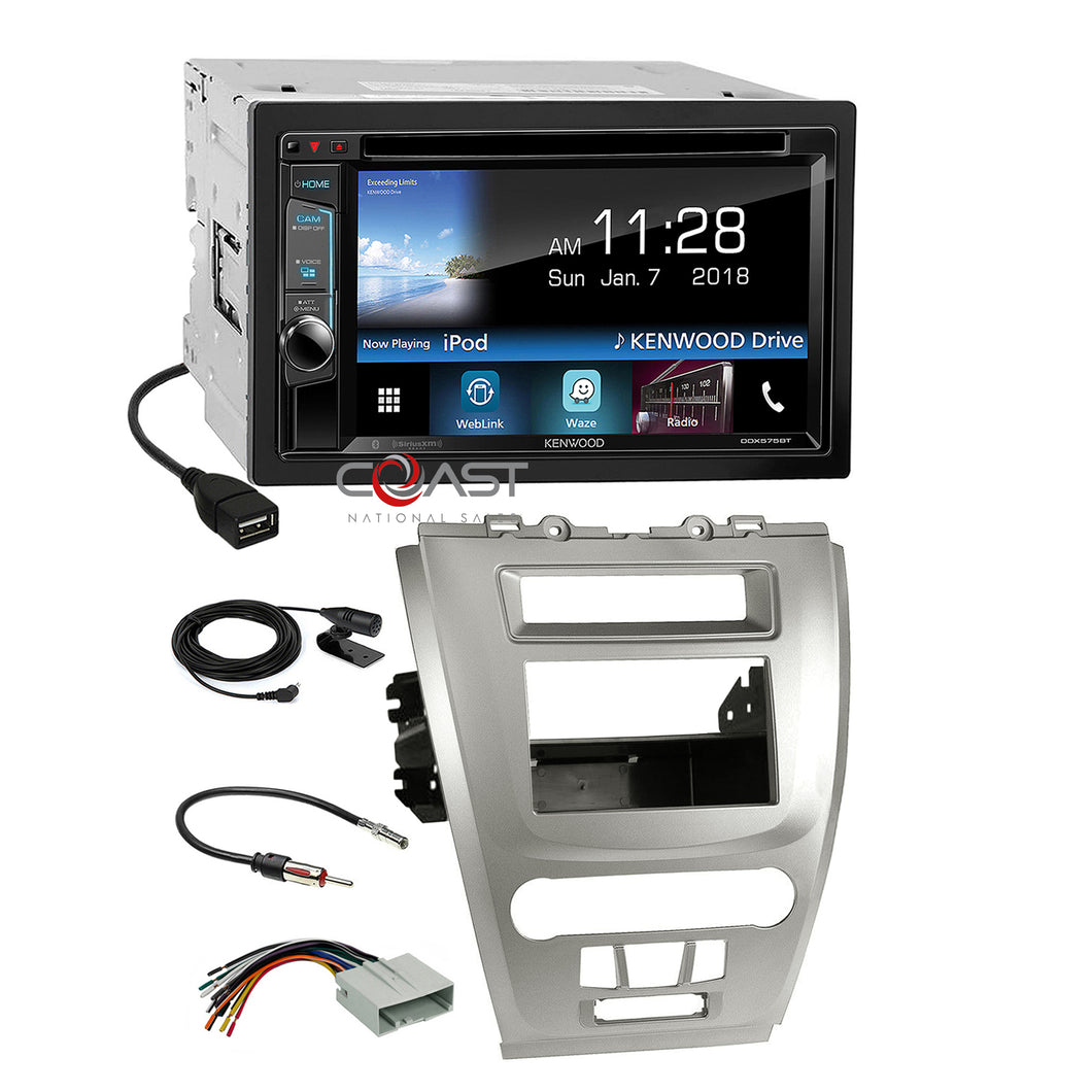 Kenwood DVD Sirius Waze Stereo Silver Dash Kit Harness for Ford Fusion Mercury