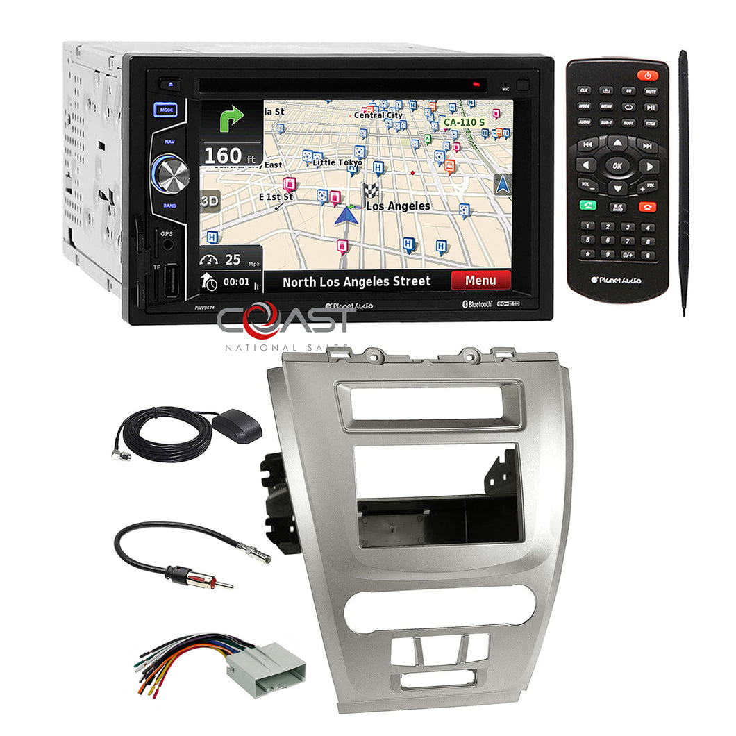 Planet Audio DVD SD GPS Stereo Silver Dash Kit Harness for Ford Fusion Mercury