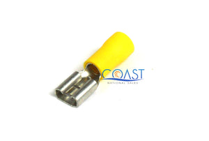 "Car Home Audio Yellow Female Quick Disconnector .250"" 12-10 - 100 pcs"