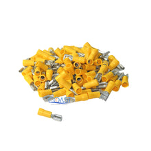 "Load image into Gallery viewer, Car Home Audio Yellow Female Quick Disconnector .250"" 12-10 - 100 pcs"
