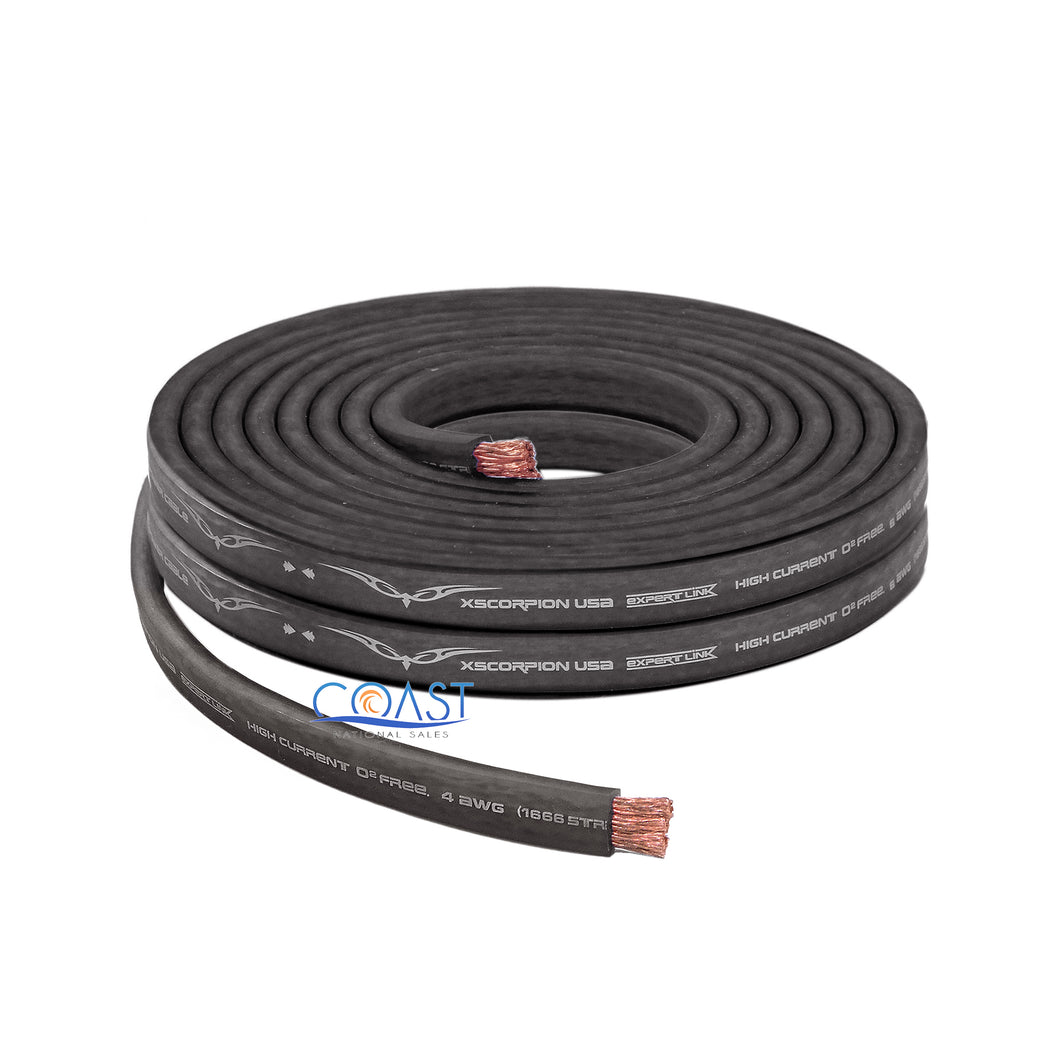 OFC Full Copper 1666 Strand Count 4 Gauge Black Flat Power Ground Cable - 10ft