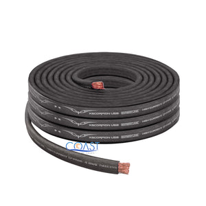 OFC Full Copper 1666 Strand Count 4 Gauge Black Flat Power Ground Cable - 25ft