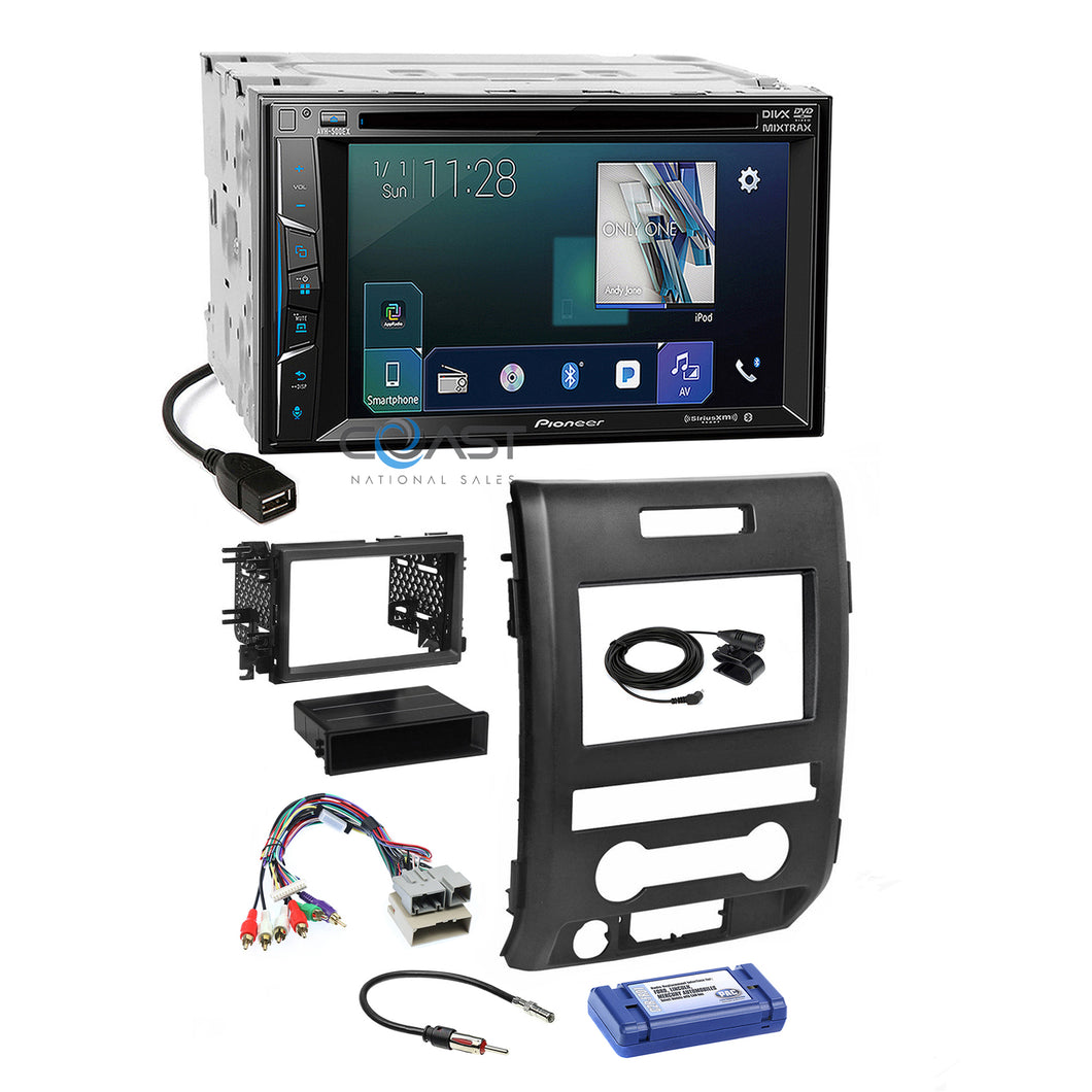 Pioneer 2018 DVD Sirius Bluetooth Stereo Dash Kit Harness for 09-12 Ford F-150