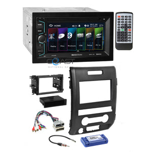 Soundstream 2018 DVD Bluetooth Stereo Dash Kit Amp Harness for 09-12 Ford F-150