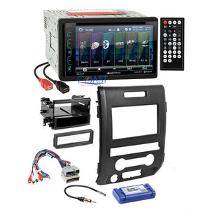 Soundstream DVD USB Bluetooth Stereo Dash Kit Amp Harness for 09-12 Ford F-150