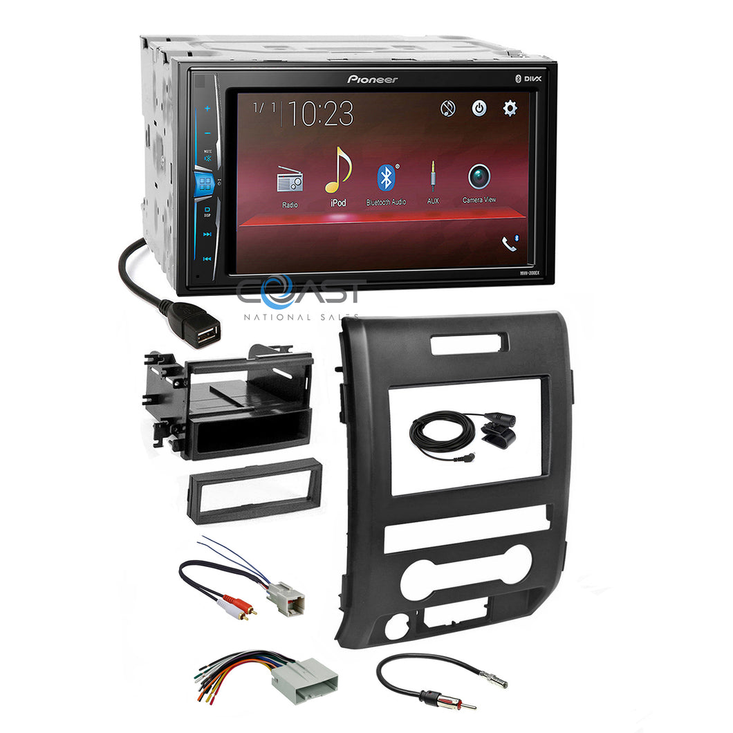 Pioneer 2018 USB Bluetooth Stereo 2Din Dash Kit Harness for 2009-12 Ford F-150