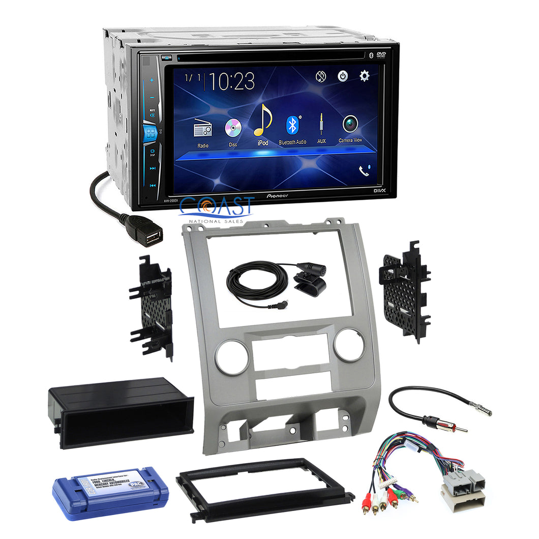 Pioneer 2018 Bluetooth Radio Silver Dash Kit Harness for 08+ Ford Mercury Mazda