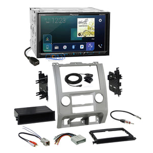 Pioneer Carplay Bluetooth Stereo Silver Dash Kit Harness for Ford Mercury Mazda