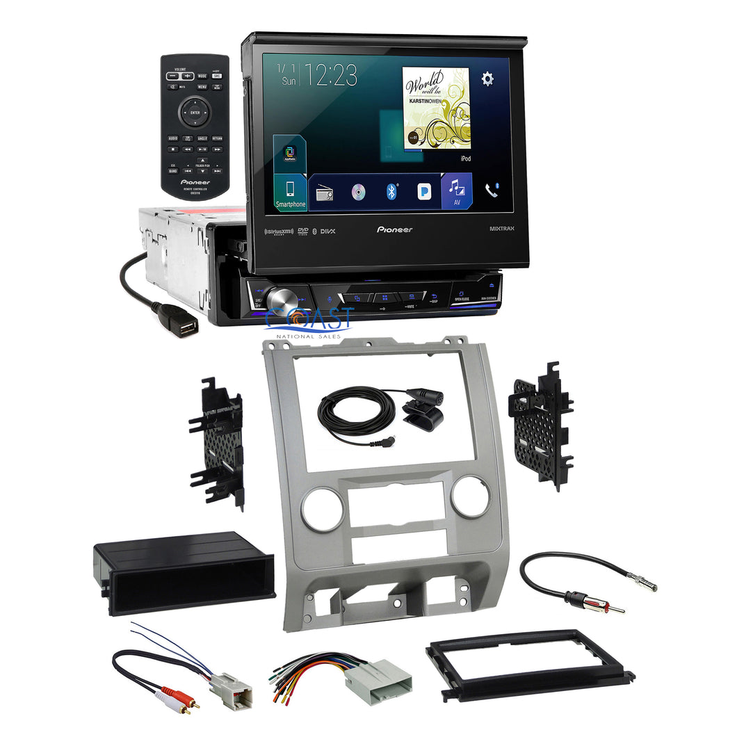 Pioneer Flip Out Carplay Stereo Silver Dash Kit Harness for Ford Mercury Mazda