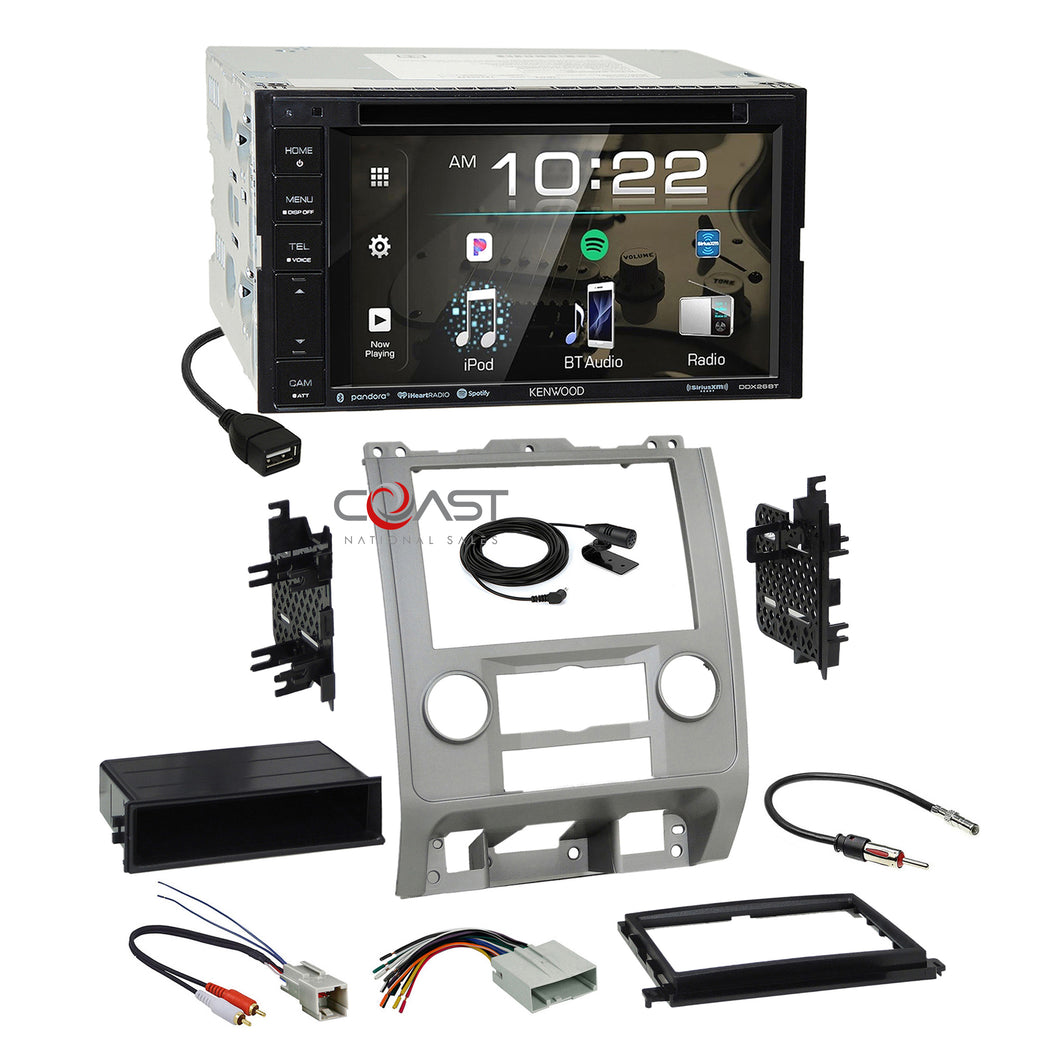 Kenwood Sirius Bluetooth Stereo Silver Dash Kit Harness for Ford Mercury Mazda