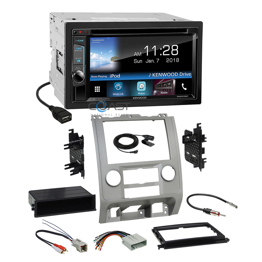 Kenwood DVD Sirius Waze Stereo Silver Dash Kit Harness for Ford Mercury Mazda