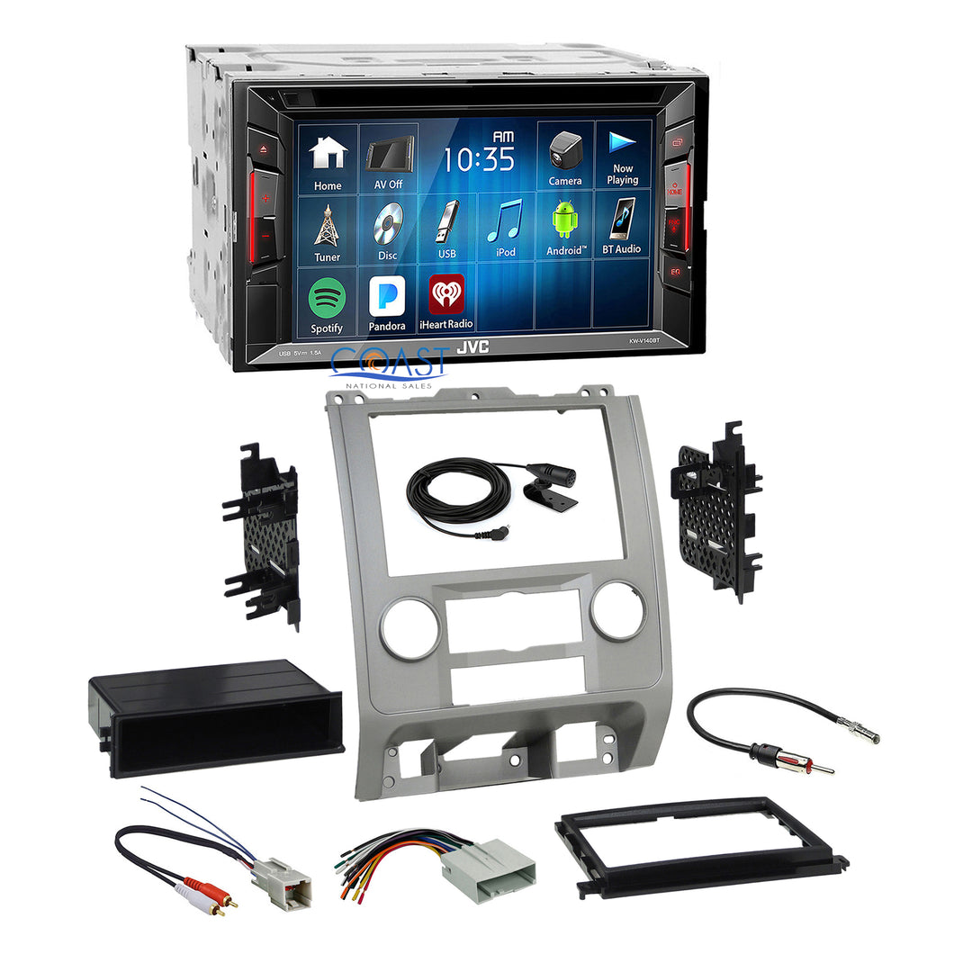 JVC 2018 DVD Bluetooth Stereo Silver Dash Kit Harness for Ford Mercury Mazda