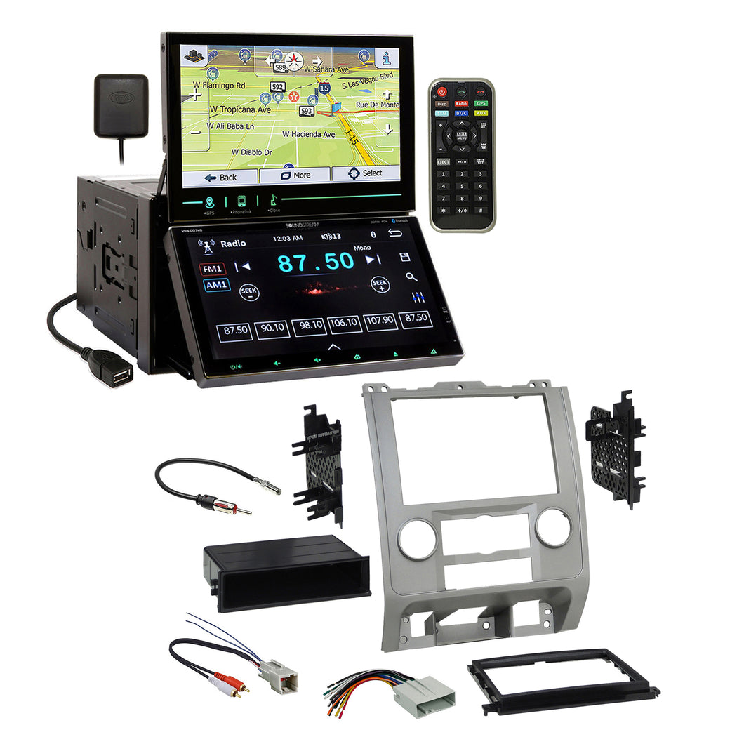 Soundstream 2 Screens GPS Stereo Silver Dash Kit Harness for Ford Mercury Mazda