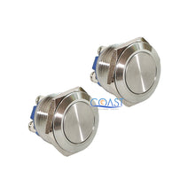 Load image into Gallery viewer, 2X Durable 16mm Starter Horn Momentary Flat Push Button Stainless Steel Switch