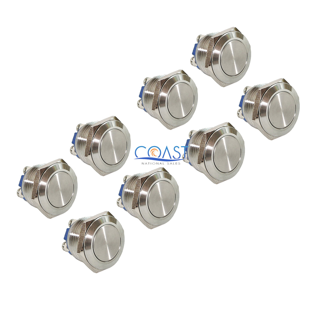 8X Durable 16mm Starter Horn Momentary Flat Push Button Stainless Steel Switch