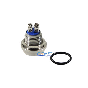 2X Durable 16mm Starter Horn Momentary Flat Push Button Stainless Steel Switch