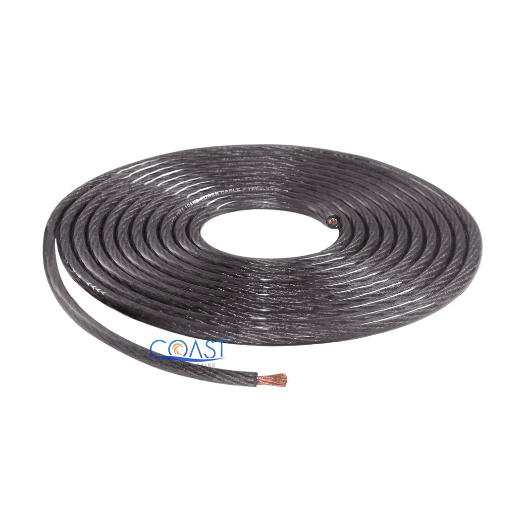 OFC Full Copper Stranded 10 Gauge AWG Black Power Ground Wire Cable - 5ft