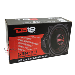 "DS18 GEN-X4 Car Audio 4"" 2-Way 120W Coaxial Series Flush Mount Speakers"