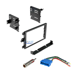 Single DIN Stereo Dash Kit + Antenna + Harness for 1990-2012 Cadillac Buick