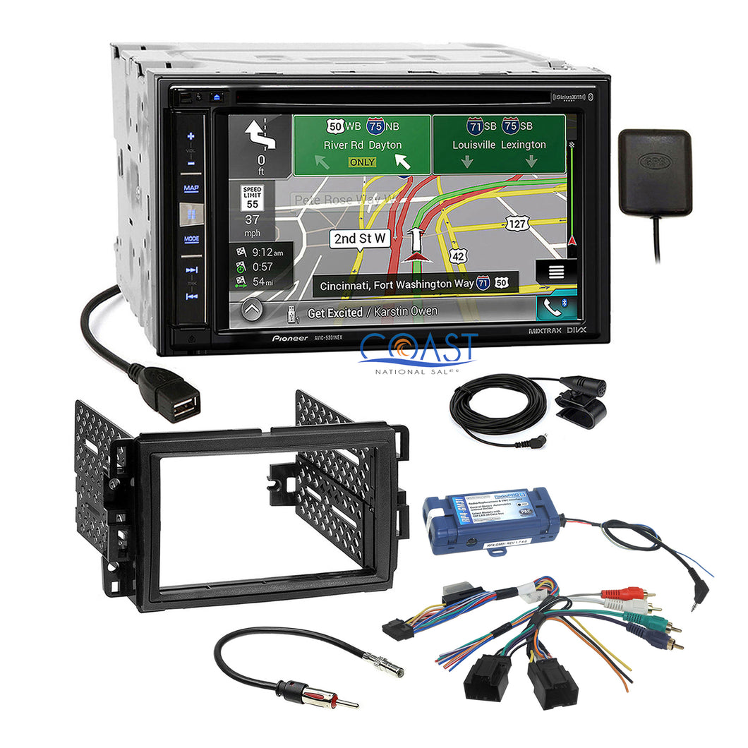 Pioneer Carplay GPS Sirius Stereo Dash Kit SWC Harness for GM Buick Chevrolet