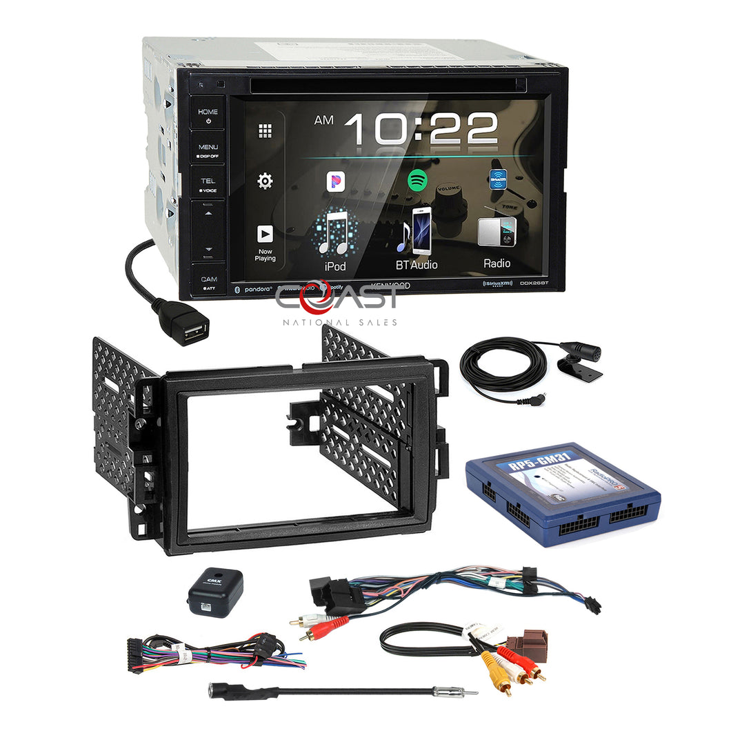 Kenwood 2018 DVD Spotify Stereo 2Din Dash Kit OnStar Bose SWC Harness for GM