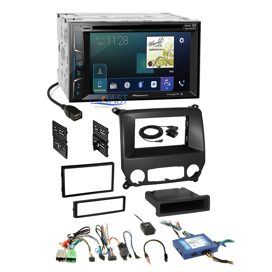 Pioneer Carplay Sirius Stereo Dash Kit SWC Harness for Chevrolet Silverado GMC