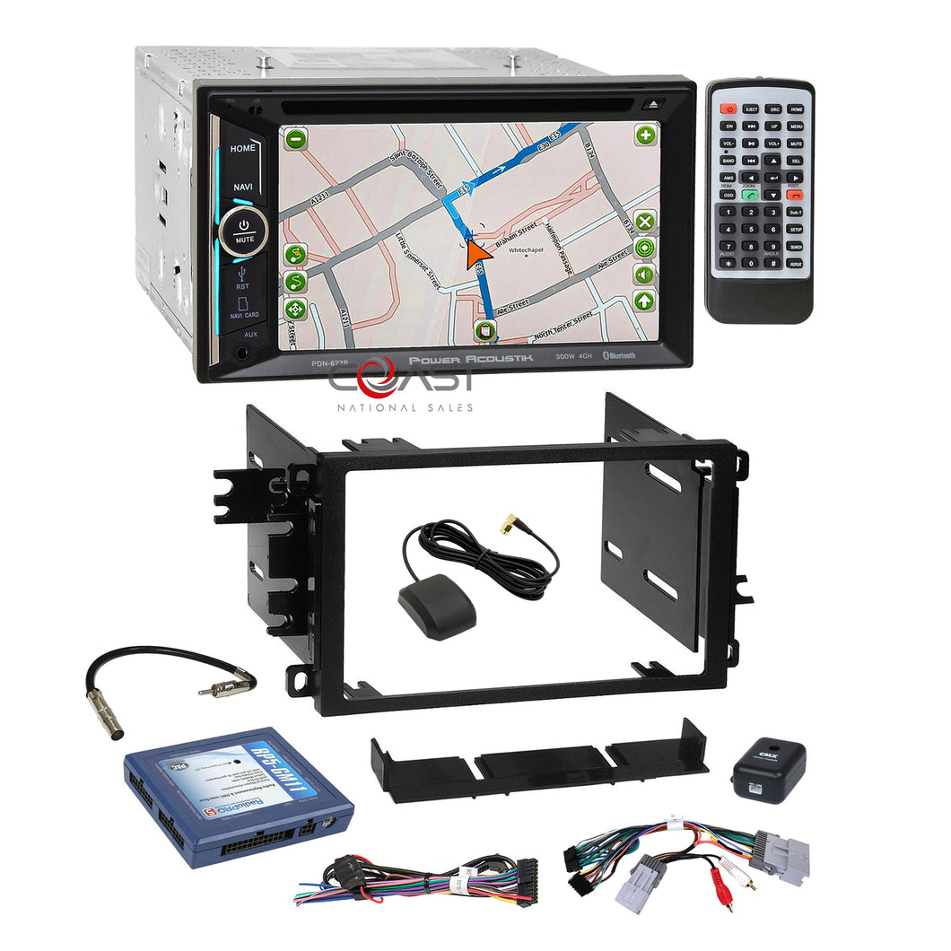 Power Acoustik DVD BT GPS NAV Stereo Dash Kit Bose Amp Harness for GM Chevrolet