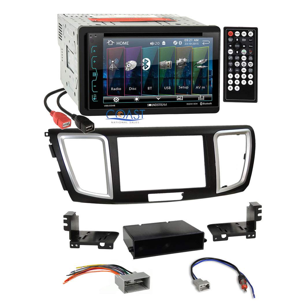 Soundstream DVD USB Bluetooth Stereo Dash Kit Harness for 2013-15 Honda Accord