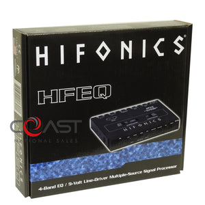 HiFonics 1/2 Din 2-Way Crossover 4-Band Equilizer 9 Volt Signal Processor