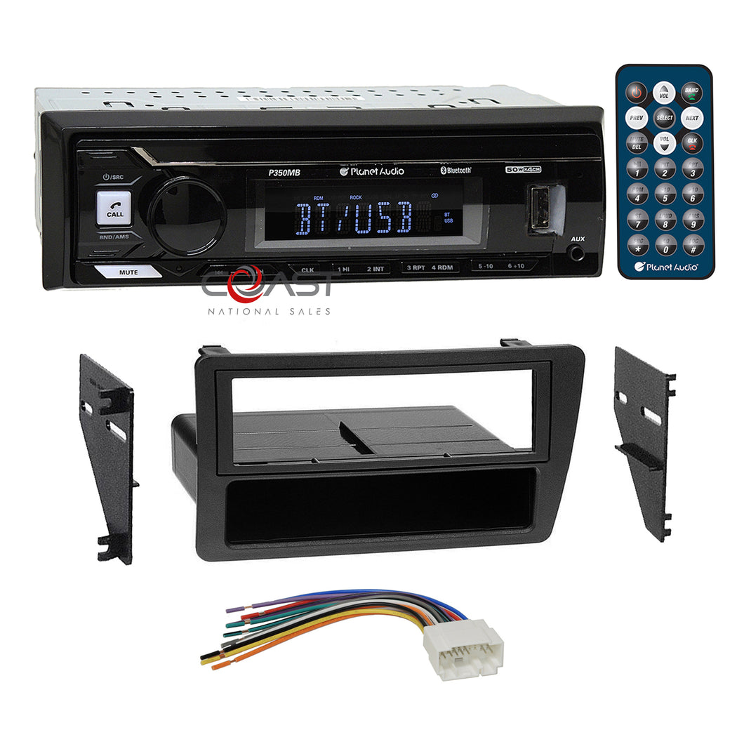 Planet Audio USB Bluetooth Stereo Din Dash Kit Harness for 2001-05 Honda Civic