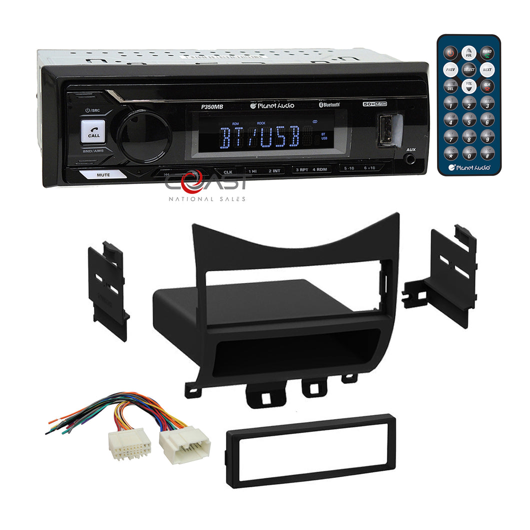 Planet Audio USB Bluetooth Stereo Din Dash Kit Harness for 2003-07 Honda Accord