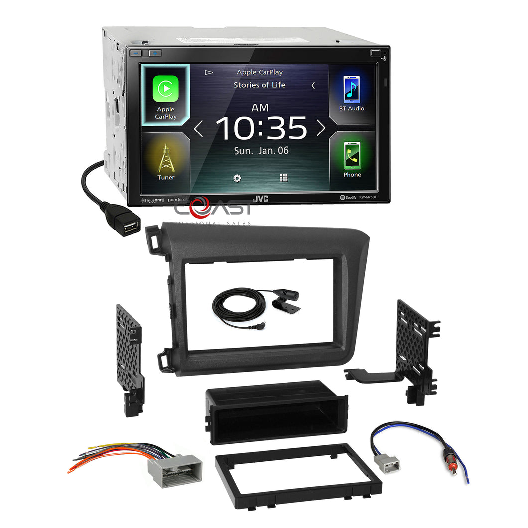 JVC USB BT Carplay Android Sirius Stereo Dash Kit Harness for 2012 Honda Civic