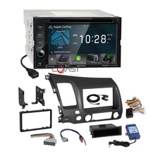 Load image into Gallery viewer, Kenwood DVD Sirius Carplay Stereo Gry Dash Kit SWC Harness for 06+ Honda Civic