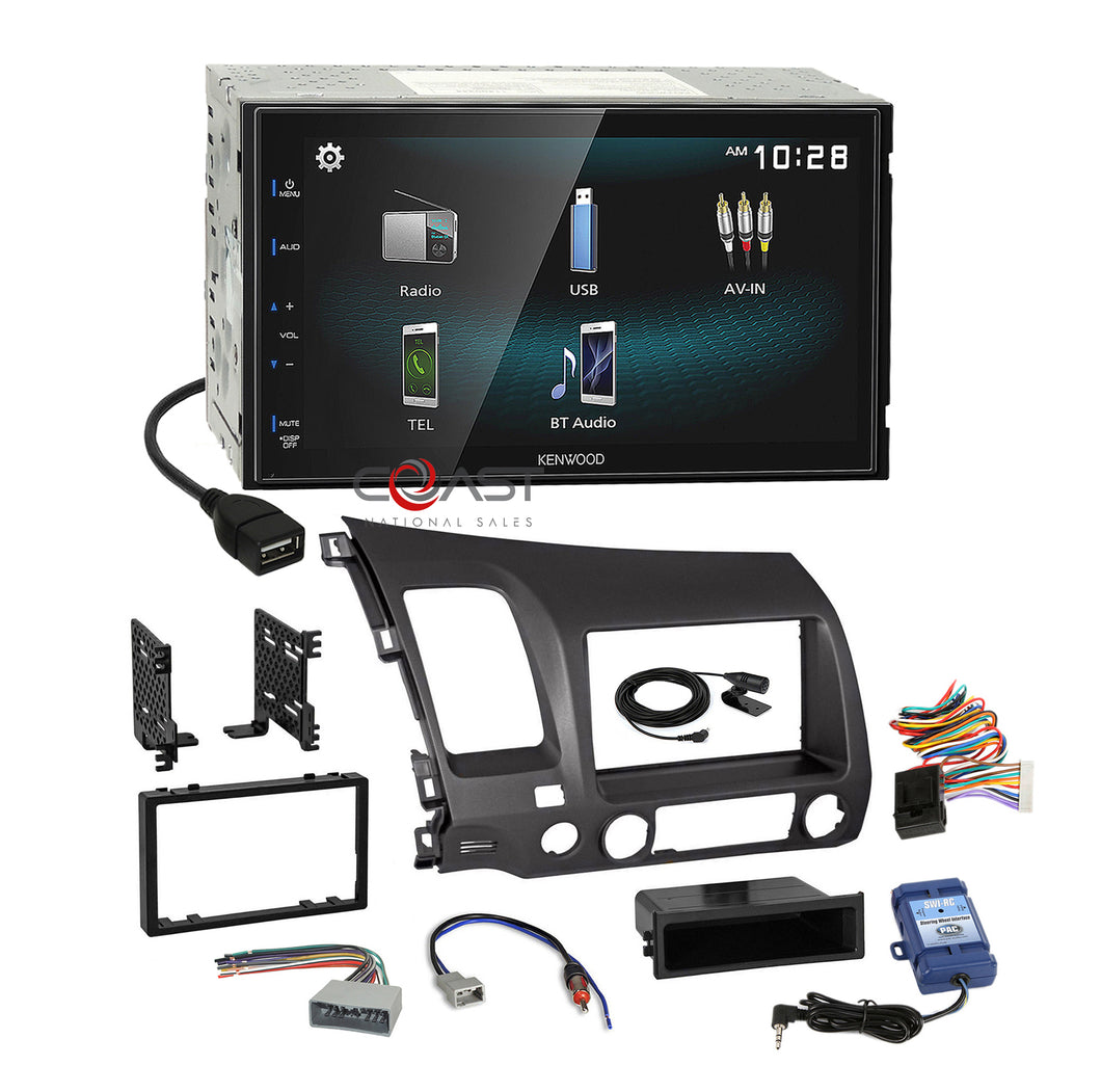Kenwood Smartphone Android Stereo Gry Dash Kit SWC Harness for 06+ Honda Civic