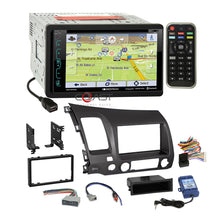 Load image into Gallery viewer, Soundstream DVD Sirius GPS Stereo Gry Dash Kit SWC Harness for 06+ Honda Civic