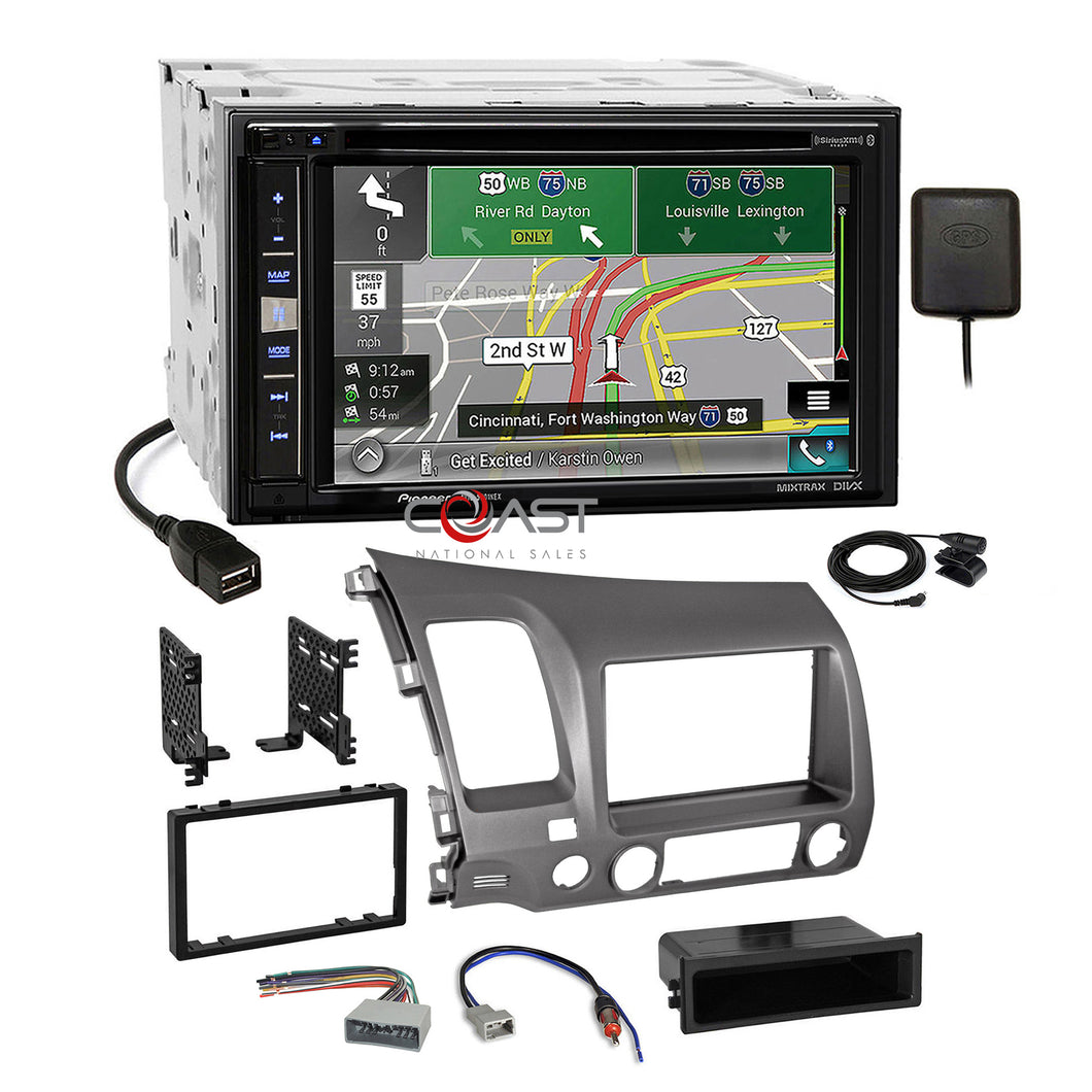 Pioneer 2018 Carplay Sirius GPS Stereo Taupe Dash Kit Harness for Honda Civic