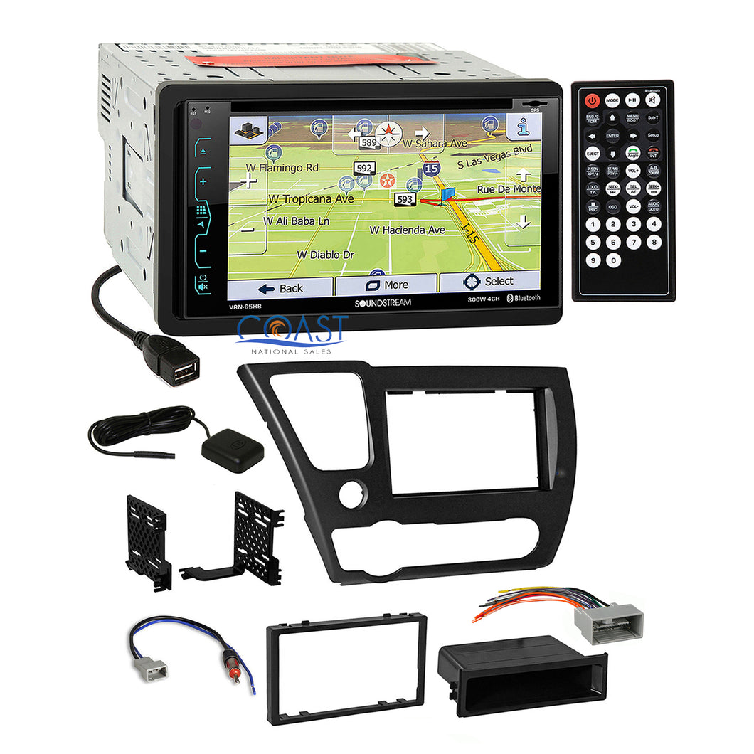 Soundstream DVD GPS Bluetooth Stereo Dash Kit Harness for 2013-15 honda Civic