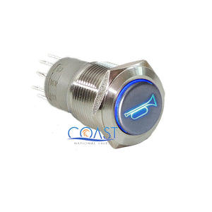 Durable 12V LED 16mm Momentary Blue Car Horn Push Button Toggle Light Switch
