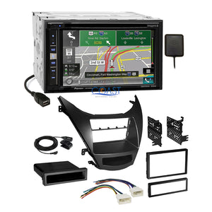 Pioneer DVD GPS Carplay Stereo 2Din Dash Kit Harness for 11-13 Hyundai Elantra
