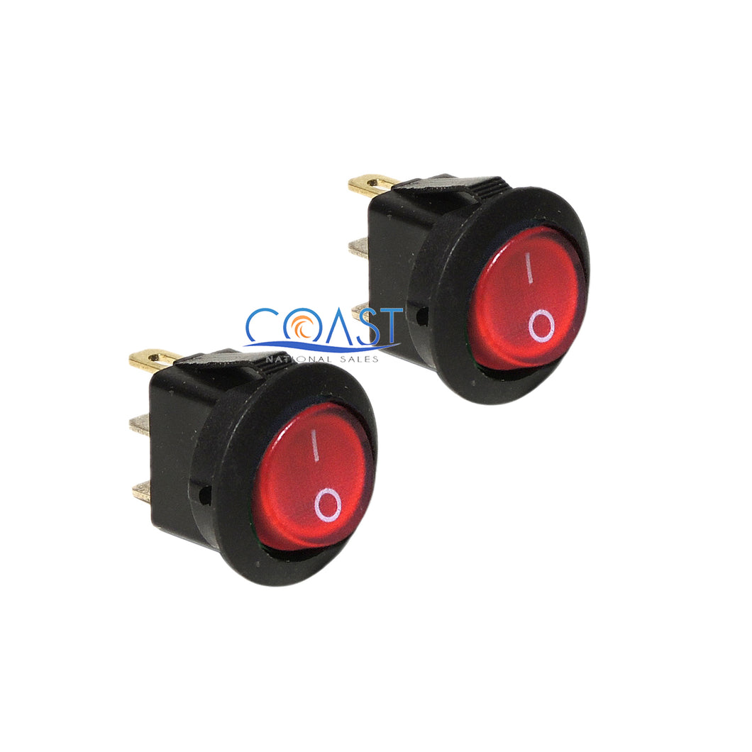 2X Car Trucks Auto Boat 12V 15A On/Off Round Red SPST Rocker Toggle Switches
