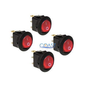 4X Car Trucks Auto Boat 12V 15A On/Off Round Red SPST Rocker Toggle Switches
