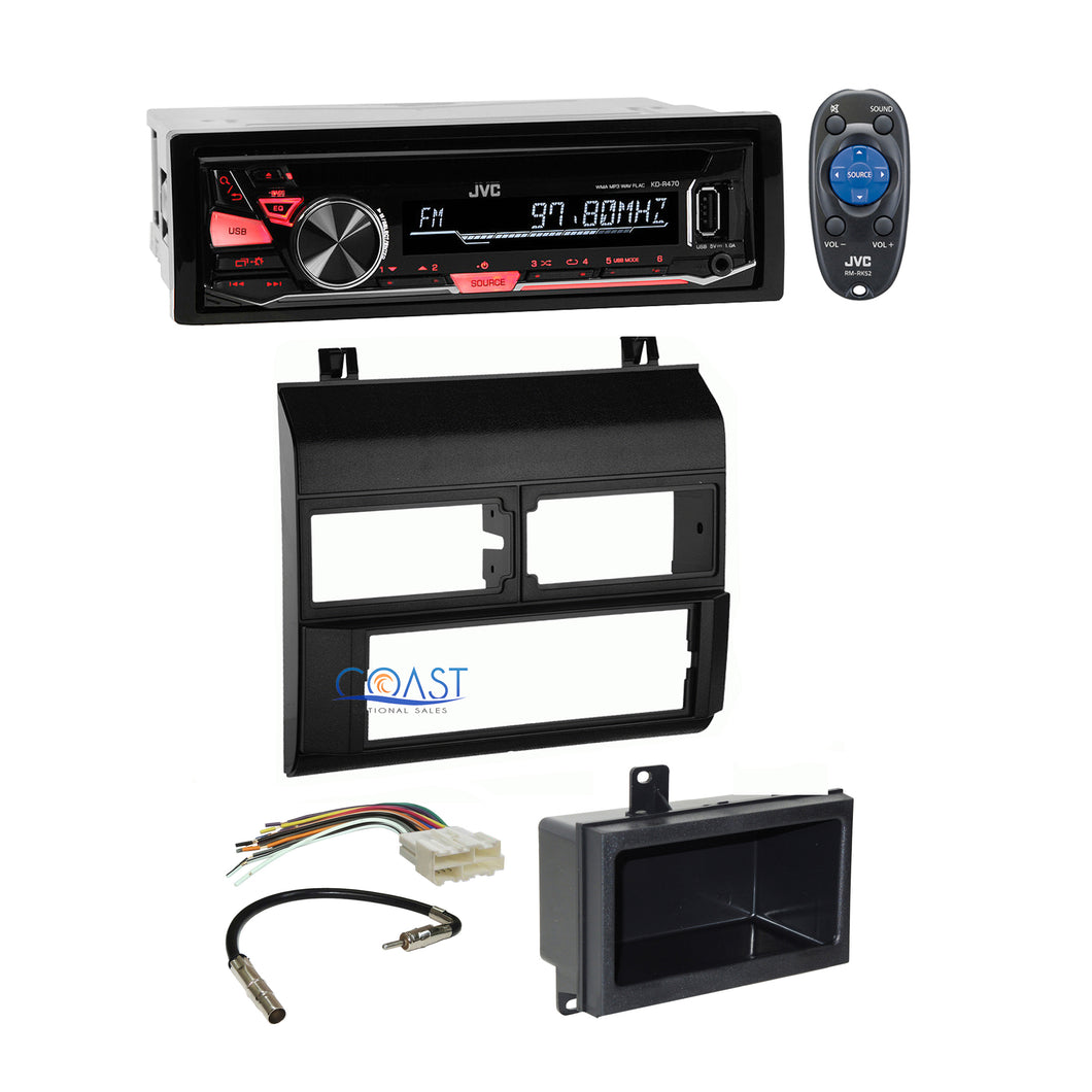 JVC Car Stereo Radio Black Dash Kit Pocket Harness for 1988-94 Chevy GMC Truck
