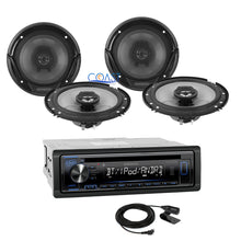 "Load image into Gallery viewer, Kenwood Car USB Bluetooth Radio Stereo w/ Four 6.5"" 300W Audio Speakers Combo"